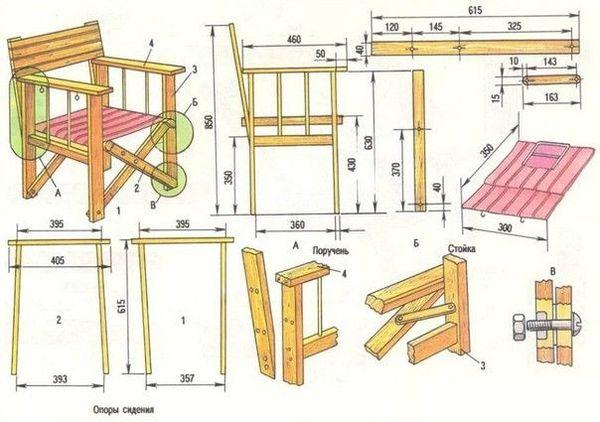 Чертеж садового кресла из дерева