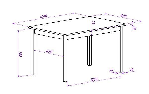 Чертеж дачного стола с прямыми ножками