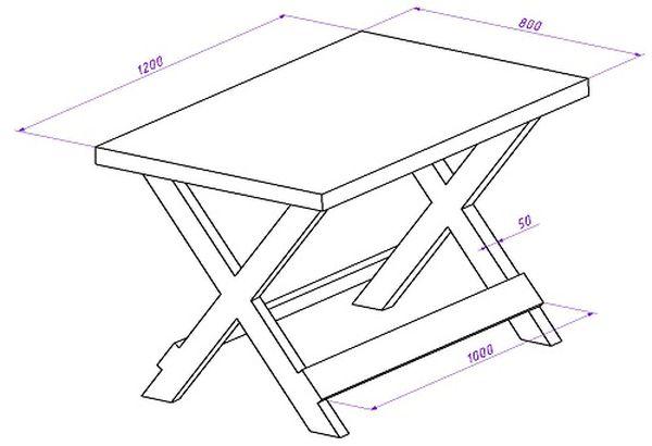 Чертеж дачного стола с X-ножками