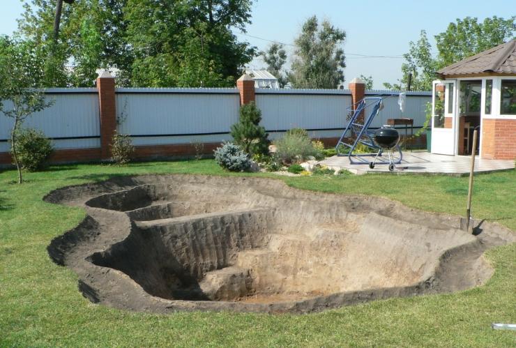 Котлован для садового пруда