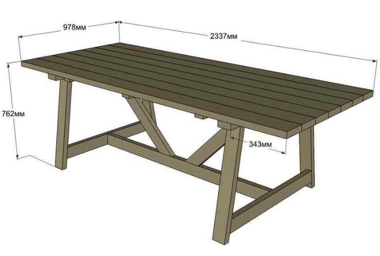 Чертеж дачного стола с клееной столешницей